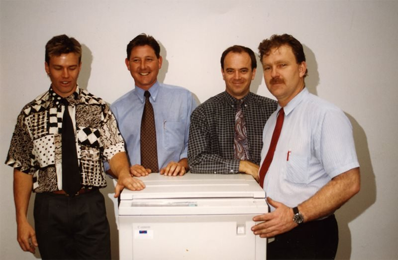 workers with photocopier