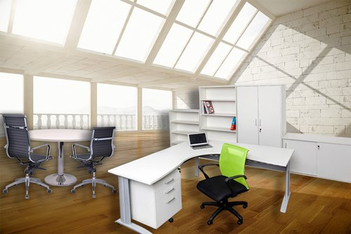 white office furniture and table