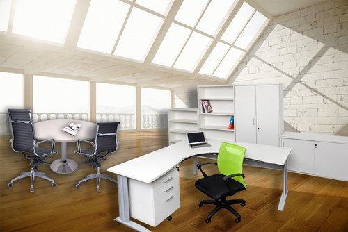 well lit office with white desk and table