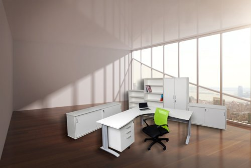 white desk with green office chair