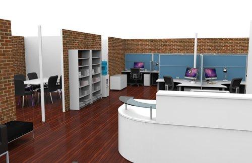 receptionist desk in modern office