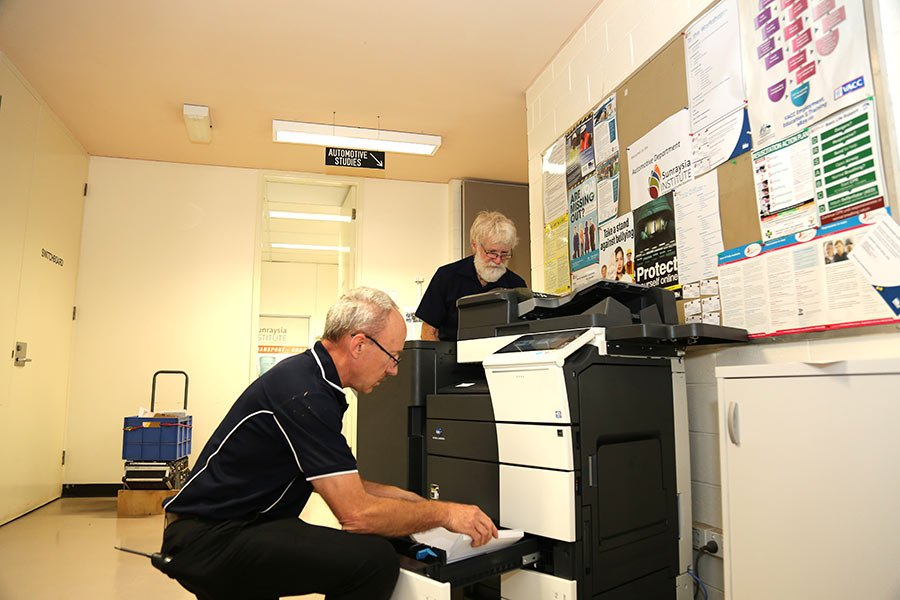 Working on photocopier