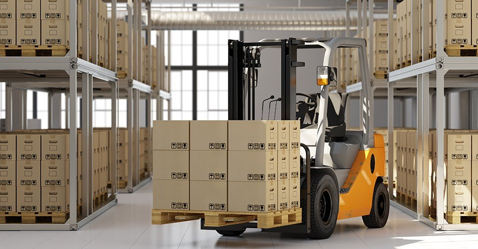 A warehouse with a forklift truck carrying boxes