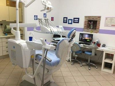un lettino con gli attrezzi dentistici e una scrivania con un PC