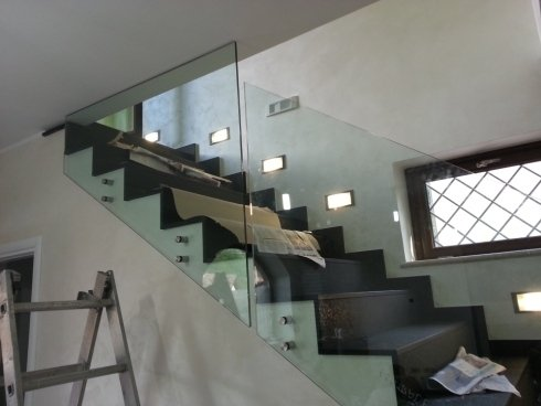 balaustre scale vetro stratificato temprato