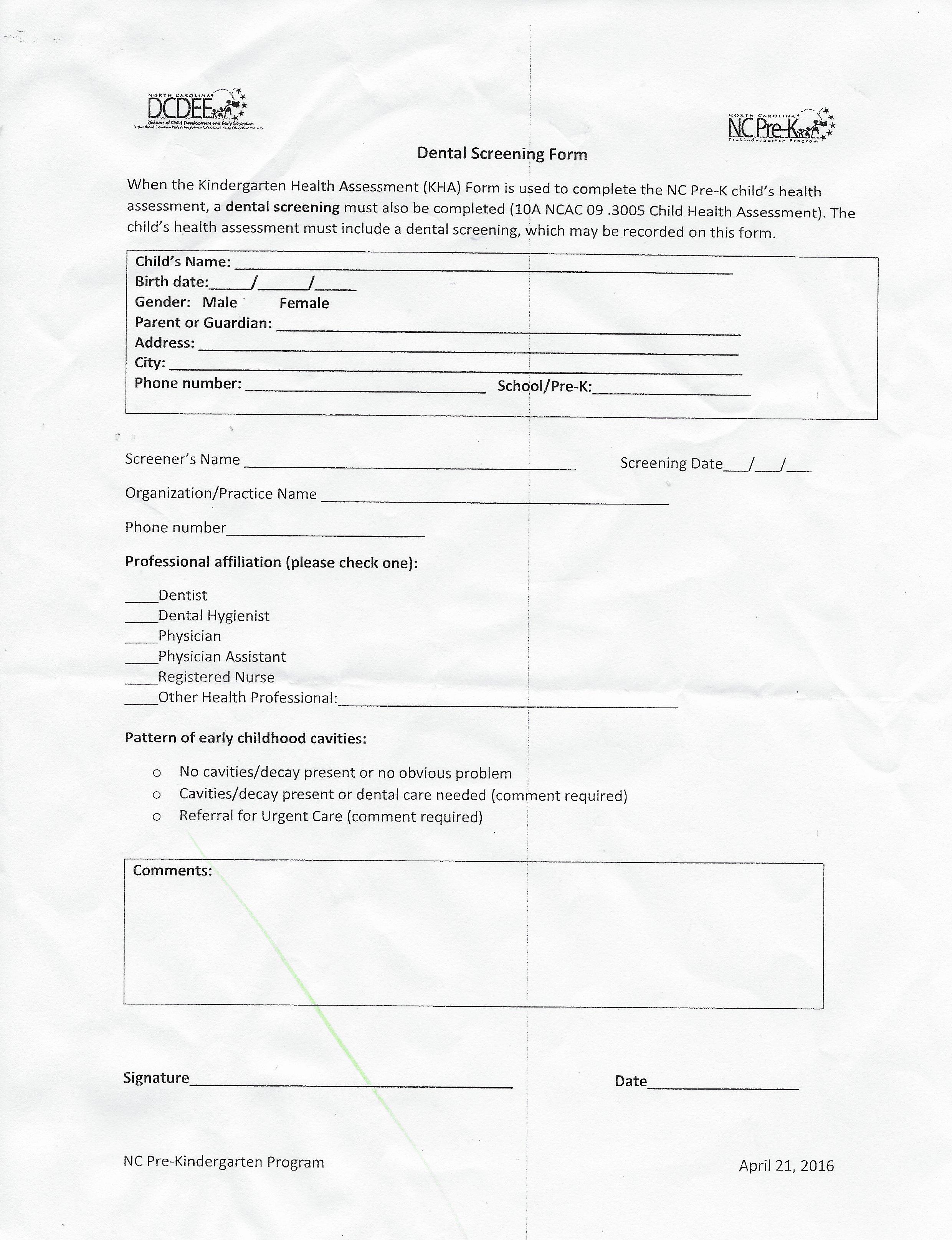 Parent Handbook Kindergarten Physical Form Dental Form