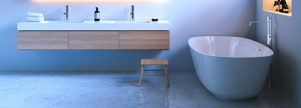 bagno decorato di blu