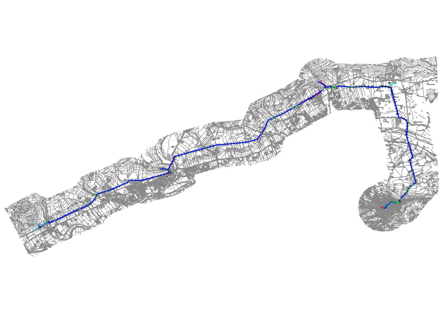 Rilievo topografico per progetto di una linea acqua