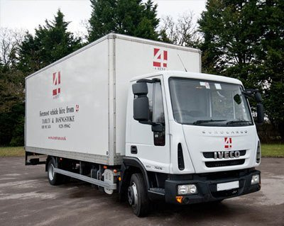 A large truck ready for hire