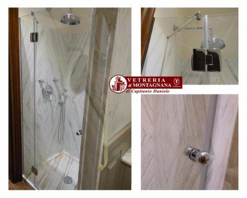 box doccia in marmo decorato e vetro