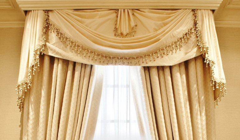 a gold coloured curtain