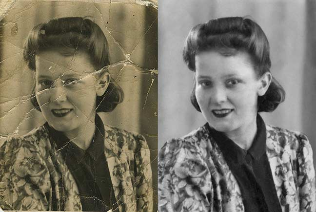 restored black and white photo