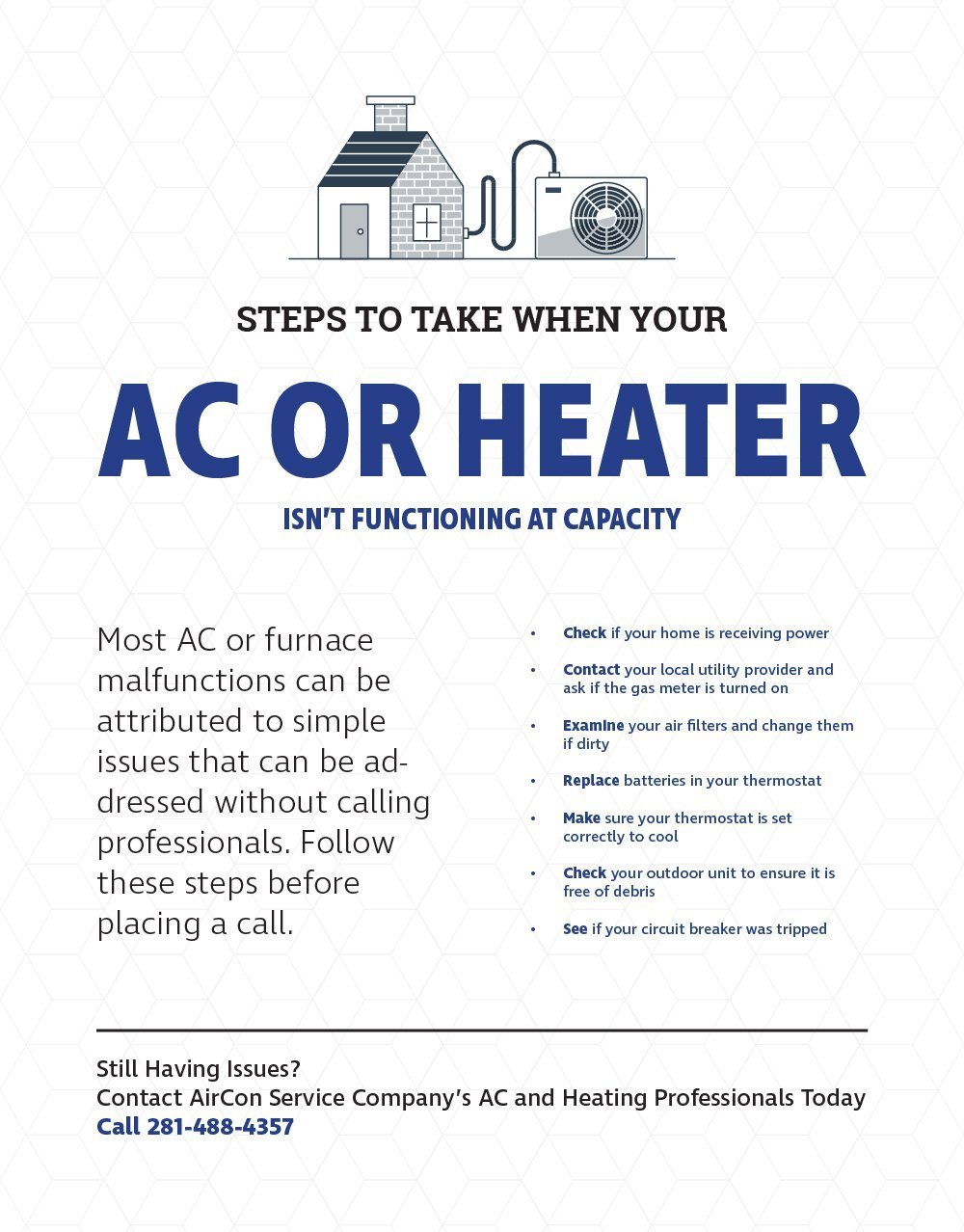 Try these steps if your AC or heater isn't working | AirCon Service Company Houston