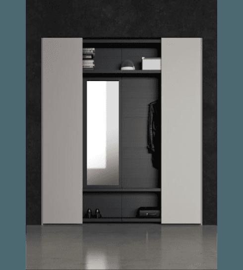 Pratico ingresso boiserie a ripiani in spazzolato laccato opaco ardesia 168, ante e fianchi laccato opaco madreperla 124.
