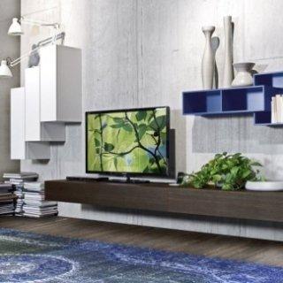 salotto moderno blu e bianco