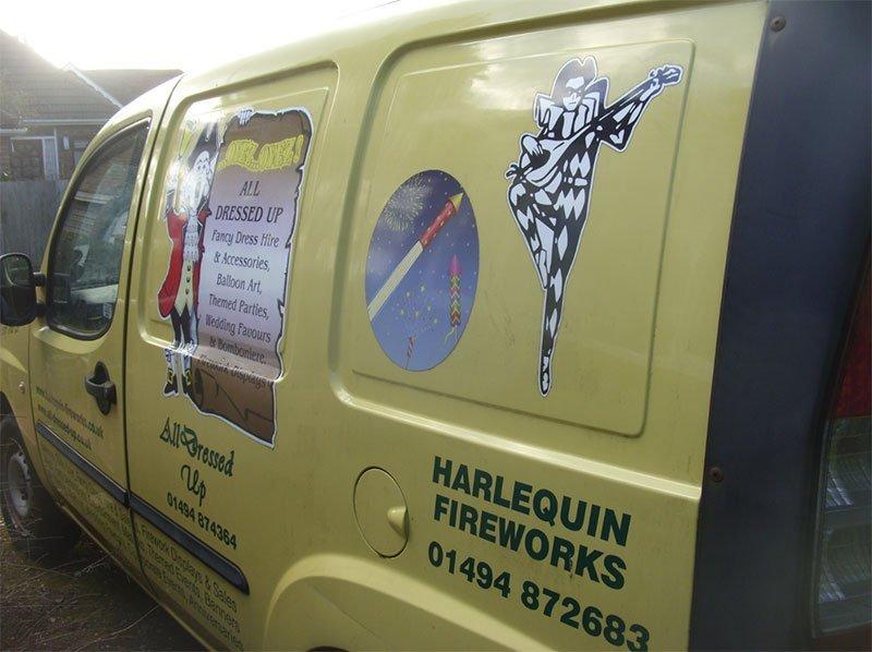 Harlequin yellow van