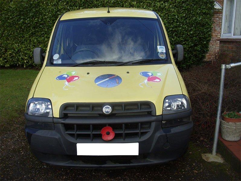 front view of the yellow van