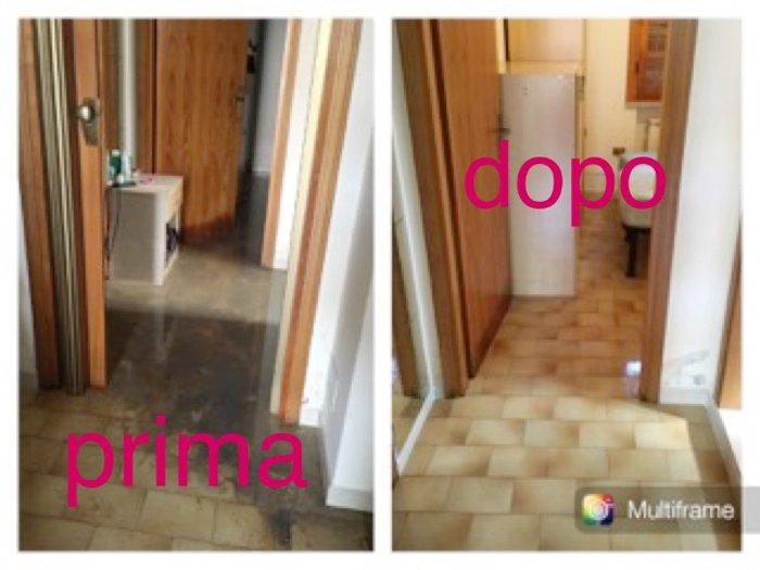 prima e dopo una pulizia del pavimento