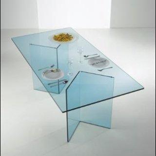 tavolino in cristallo sagomato