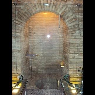 parete divisoria sauna in cristallo