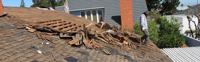 Storm damage house roof