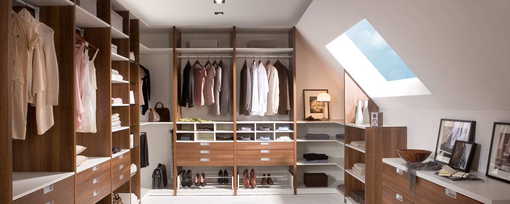 View of a well organised wardrobe