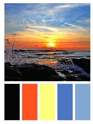 foto tramonto e scala colori simili