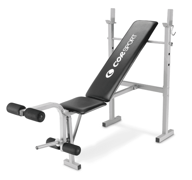 Panca semplice con supporto per bilanciere e leg extension.