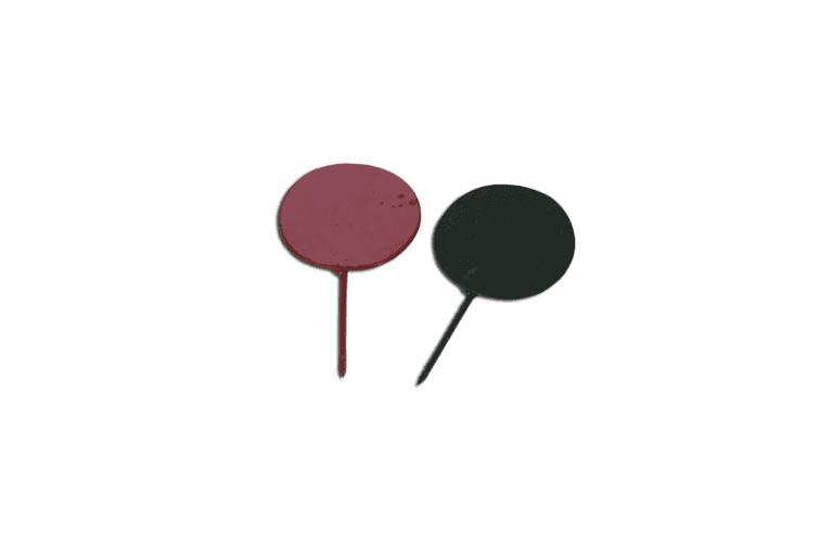 Segnalino di rincorsa di acciaio colorato con puntale per inserimento sul terreno