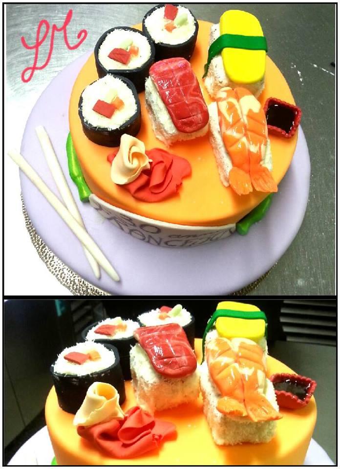 torta scultura a tema sushi per festa di compleanno