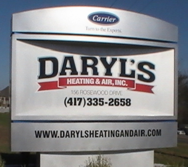 Daryl's heating and air conditioning sign in Branson, MO