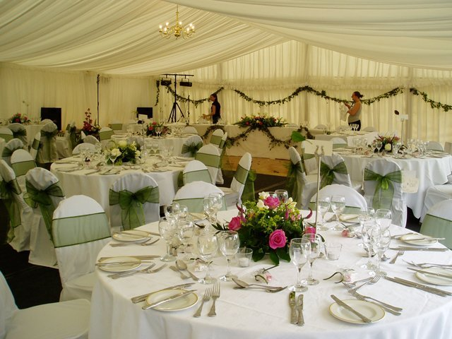 inside a wedding marquee