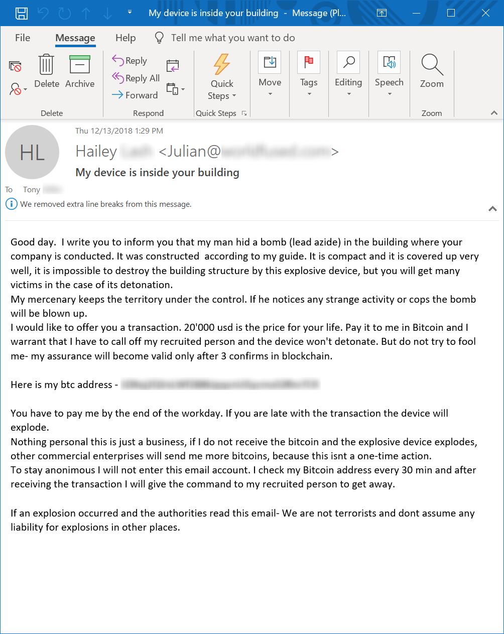 Blackmail Email Bitcoin πληρωμή