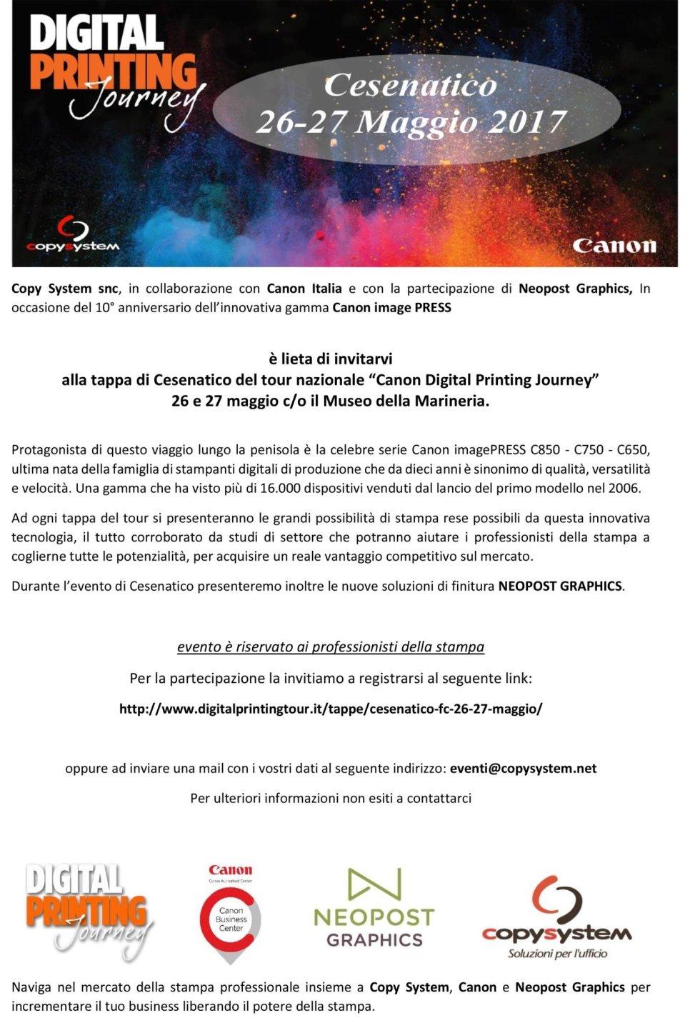 """tour nazionale """"Canon Digital Printing Journey"""" 26 e 27 maggio"""