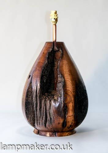 rustic oak old beam lamp, vase shapedreclaimed beam