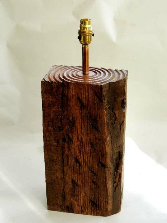 rustic oak old beam lamp,  made from a salvaged  oak beam