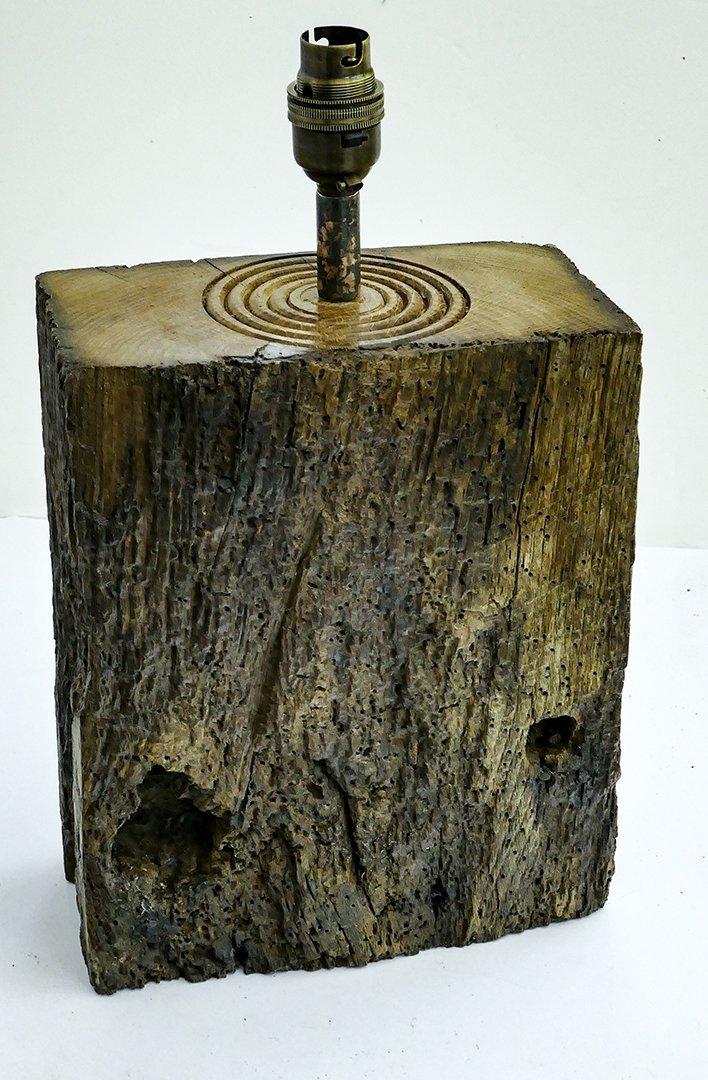 Handmade rustic old beam lamp