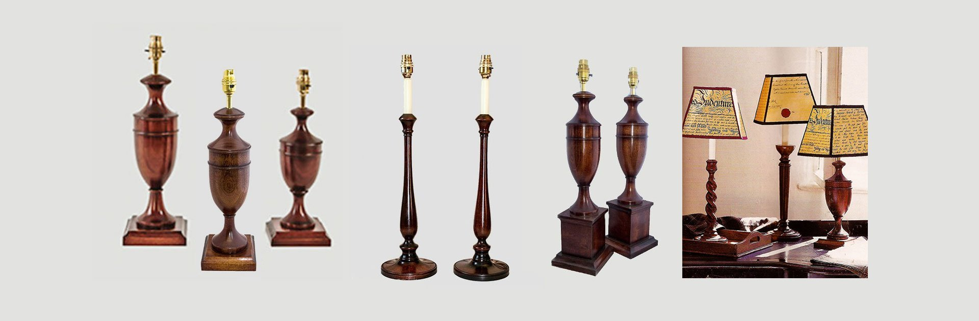 Traditional  wooden lamps of different periods