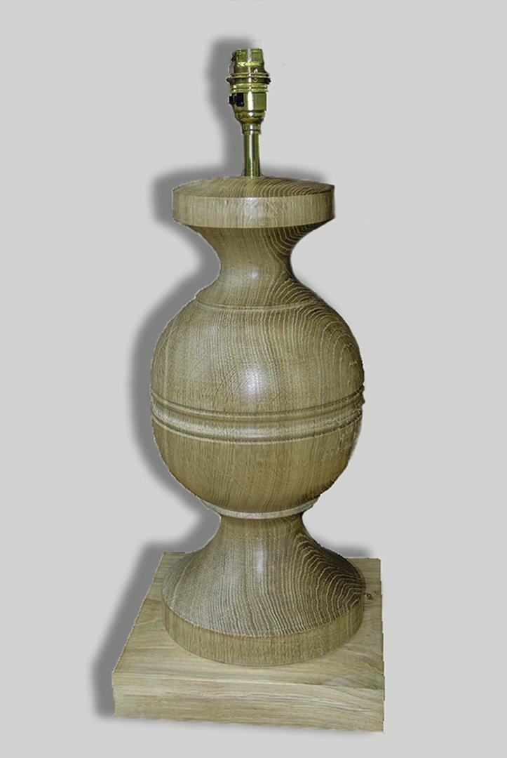 Large rustic classical shaped Oak lamp