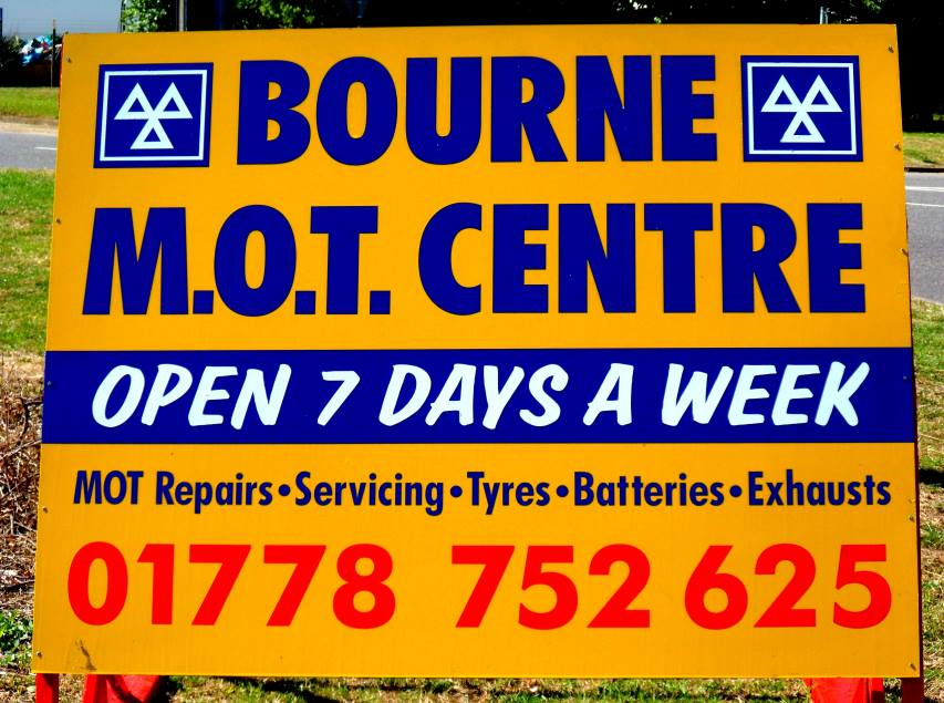 Bourne MOT Centre board
