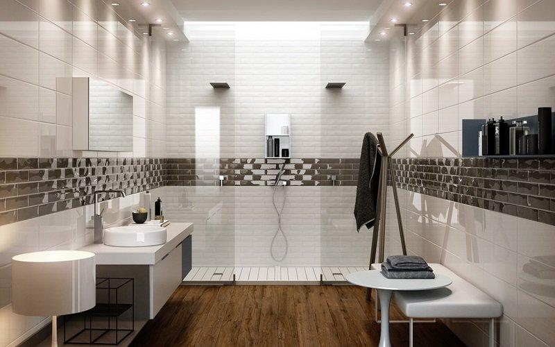 un bagno moderno con sulla sinistra un lavabo con vista del box doccia
