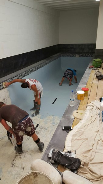 View of the pool renovation work
