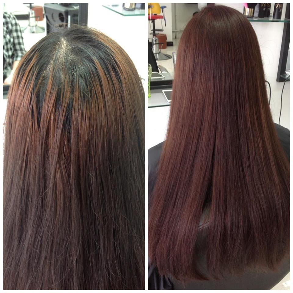 Before and after image of hair colour