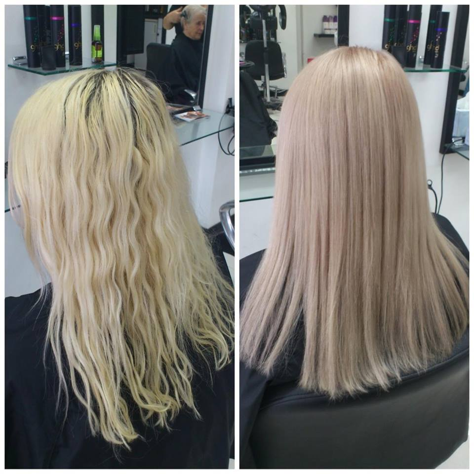 Before and after image of hair straighteningr