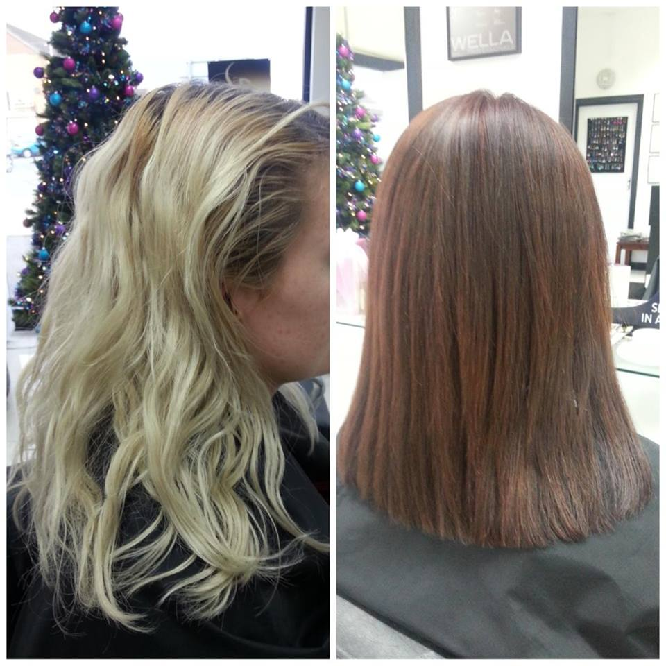 Before and after image hair straightening
