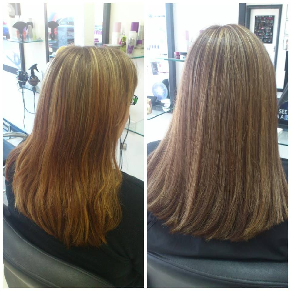 Before and after image of hair straightening