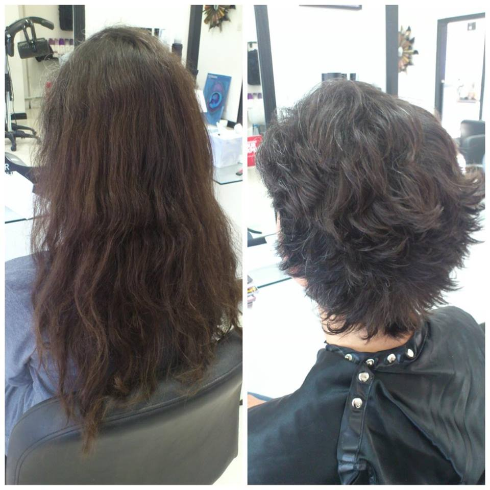 Before and after image of haircut