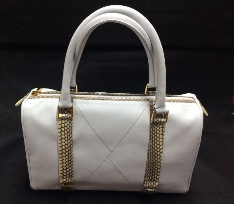 borsa in pelle bianca