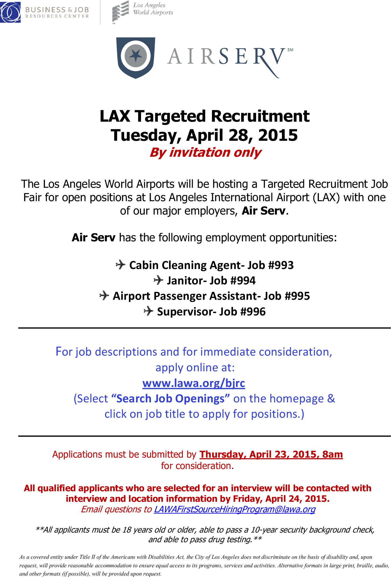 Air Serv Is Hiring Recruitment Job Fair On Tuesday April 28th