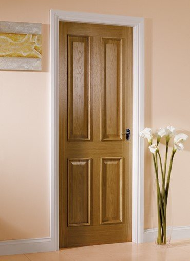 oak door with flowers